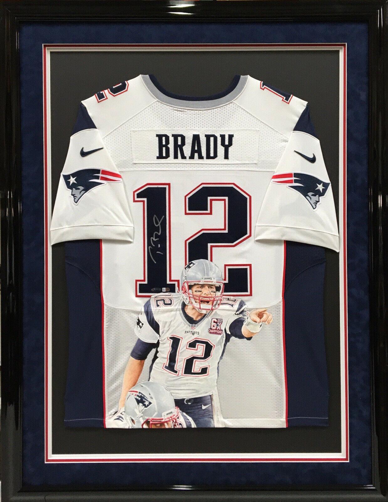 Tom Brady Signed/Framed Hand Painted Jersey *6x SB Champions* Fanatics/Tri-Star