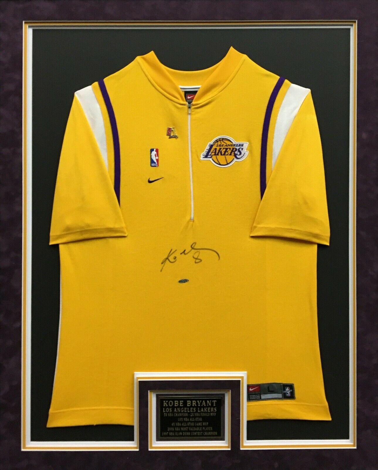 Kobe Bryant Signed & Framed Lakers Basketball Warm Up Jersey/Shirt Upper Deck